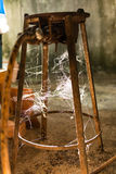 Slutet sköt upp av spiderweb Fotografering för Bildbyråer