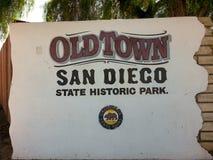 Slutet upp av den gamla staden San Diego undertecknar in Kalifornien Royaltyfri Fotografi