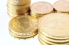 Den guld- raddan myntar för besparing Royaltyfri Fotografi