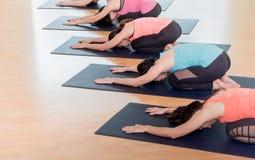 Slutet upp grupp människor som gör yogabarn` s, poserar i studiotrai Arkivfoton