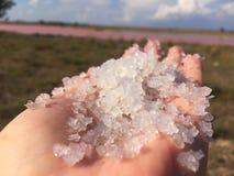 Slutet upp Himalayan rosa färger saltar kristallen i naturlig bakgrund arkivfoton
