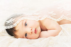 Slutet upp nyfött behandla som ett barn Arkivbild