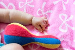 Slutet upp ståenden av sian ett gulligt spädbarn behandla som ett barn flickan (behandla som ett barn är thre Arkivfoto