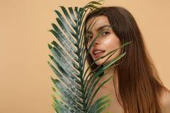 Slutet upp 20-tal för kvinnan för brunetthalvan den nakna med perfekt hud, nakenstudie utgör palmbladet som isoleras på den beige arkivbilder