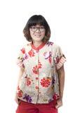 Slutet vänder mot upp av forty år gammal asiatisk kvinna som att ha på sig synar glasse Royaltyfri Fotografi