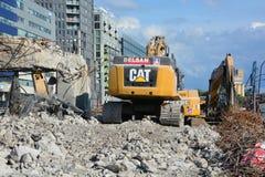 Slutfasen av rivningen av Bonaventure Expressway Royaltyfria Foton