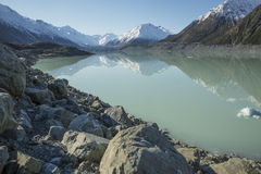 Slutlig pöl för Tasman glaciär Fotografering för Bildbyråer