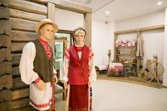 SLUTSK VITRYSSLAND - Maj 20, 2017: Museum av historien av de Slutsk bältena Arkivfoton