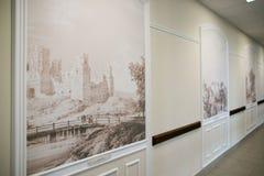 SLUTSK VITRYSSLAND - Maj 20, 2017: Museum av historien av de Slutsk bältena Arkivbilder