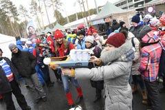 Slutskede IX av Biathlonvärldscupen IBU BMW 25 03 2018 Royaltyfri Foto