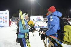 Slutskede IX av Biathlonvärldscupen IBU BMW 25 03 2018 Royaltyfria Foton