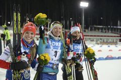Slutskede IX av Biathlonvärldscupen IBU BMW 25 03 2018 Arkivfoton