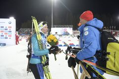 Slutskede IX av Biathlonvärldscupen IBU BMW 25 03 2018 Arkivbild