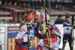 Slutskede IX av Biathlonvärldscupen IBU BMW 24 03 2018 Arkivfoto