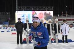 Slutskede IX av Biathlonvärldscupen IBU BMW 24 03 2018 Royaltyfria Bilder