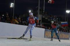 Slutskede IX av Biathlonvärldscupen IBU BMW 24 03 2018 Royaltyfri Bild