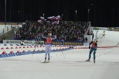 Slutskede IX av Biathlonvärldscupen IBU BMW 24 03 2018 Arkivfoton