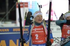 Slutskede IX av Biathlonvärldscupen IBU BMW 24 03 2018 Royaltyfri Fotografi