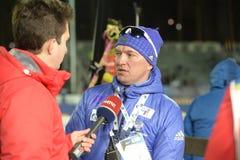 Slutskede IX av Biathlonvärldscupen IBU BMW 24 03 2018 Fotografering för Bildbyråer