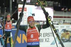 Slutskede IX av Biathlonvärldscupen IBU BMW 24 03 2018 Arkivbilder