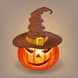 Sluwe pompoen in een heksenhoed voor Halloween Royalty-vrije Stock Fotografie
