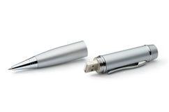 Silver metal pen transformer: pen and USB flash. Royalty Free Stock Photos