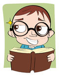Sly face kid with book. Royalty Free Stock Image