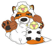 Sly fox hold a little lamb Royalty Free Stock Images