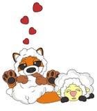 Sly fox with sleeping lamb Stock Image
