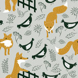 Sly foxes and chickens vector seamless pattern. Seamless pattern with cute sly foxes and chikens on the meadow. Animal vector background with plants Royalty Free Stock Photo