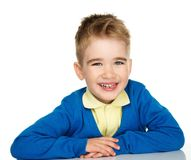 Sly little boy in blue cardigan Stock Image