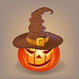 Sly pumpkin in a witch hat for Halloween. This is file of EPS10 format Royalty Free Stock Photography