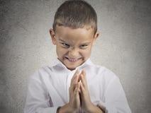 Free Sly Scheming Child Boy Plotting Something Bad Stock Image - 48052441
