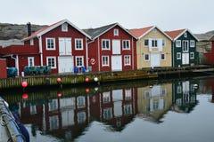 Smögen Traditioneel Dorp in Bohuslän Zweden stock afbeeldingen