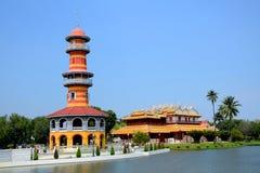 Smäll-PA-i slott i Ayudhaya Thailand. Arkivbild