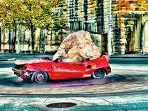 Smälld i bil arkivfoto