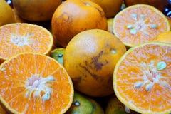Smällkvickhettangerin är en lokal cultivar av mandarinen som är fullvuxen i smällkvickhetområdet av Thon Buri, Bangkok, Thailand  royaltyfri fotografi