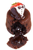 Smält lavatårta med jordgubben Royaltyfri Foto