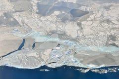 Smältande is över Grönland Arkivfoto