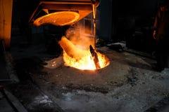 Smältande metall för gjuteriarbetare för att gjuta reservdelar arkivfoto