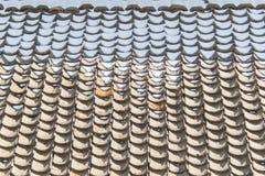 Smältande snö ackumulerar på taktegelplattor royaltyfria foton