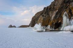 smältande vinter för baikal islake arkivbilder
