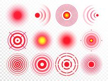 Smärta cirklar Den röda smärtsamma målfläcken och att uppsätta som mål läkarbehandlingbotcirkeln och skarven smärtar den fläckar  vektor illustrationer