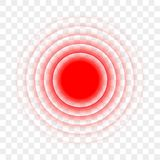 Smärta för målpunkt för den röda cirkeln den radiella symbolen för vektorn vektor illustrationer