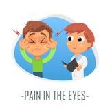 Smärta i ögonläkarundersökningbegreppet också vektor för coreldrawillustration Royaltyfria Foton