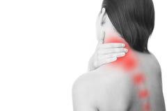 Smärta i hals av kvinnor Arkivfoton