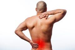 Smärta i ryggen royaltyfria bilder