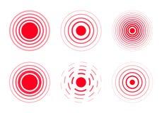 Smärta röda cirklar för att markera stock illustrationer