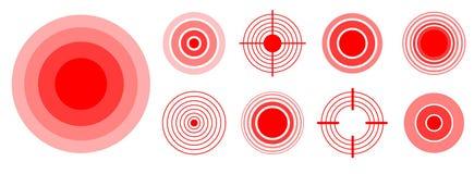 Smärta röda cirklar för att markera den smärtsamma kvinnan, och mankroppsdelar, hånglar, ben, muskeln och huvudvärken Medicinsk v royaltyfri foto
