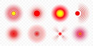 Smärta uppsättningen för symboler för den röda cirkelvektorn den medicinska vektor illustrationer